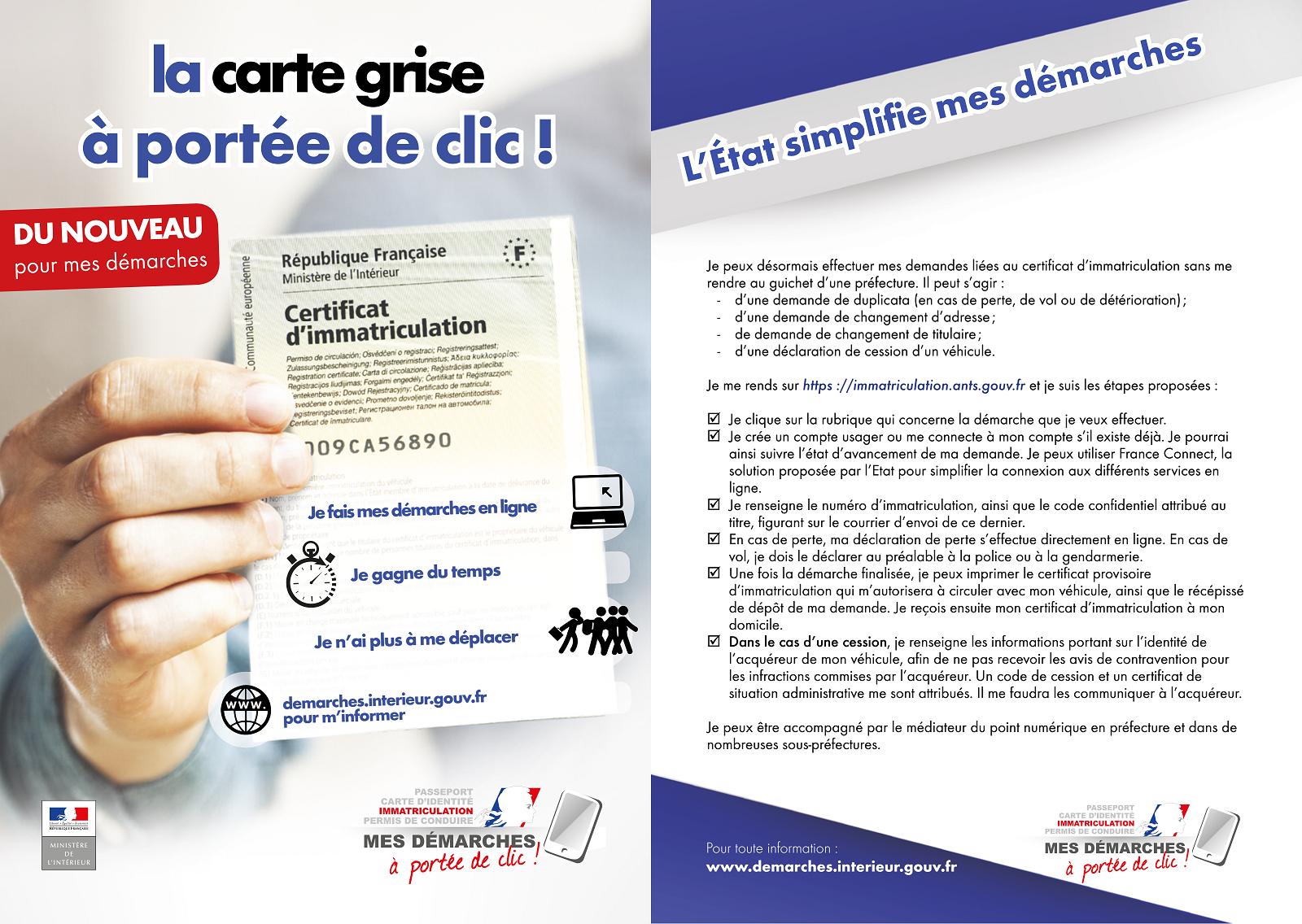 changement d adresse carte grise gouv Système d'immatriculation des véhicules / Démarches